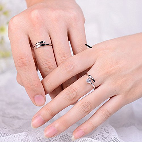 Moneekar Jewels 925 Sterling Silver Plated Couple Rings For Men & Women