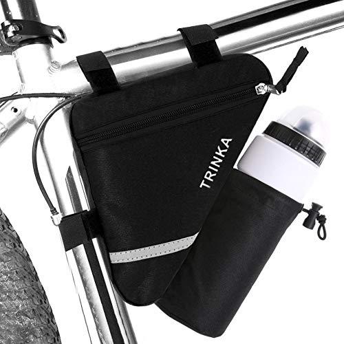 Prom-near Fahrrad Satteltasche Fahrradtasche mit Flaschenhalter Wasserdicht Rahmentasche Dreieckig Fahrrad Wasserflaschenhalter mit Klettverschluss für Mountainbikes Rennräder
