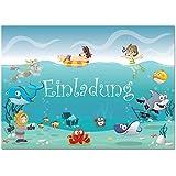 12 Einladungskarten im Set zum Kindergeburtstag mit Motiv Ozean, Unterwasserwelt, Schwimmbad, Freibad, Poolparty. Einladungen für Jungen und Mädchen mit Delfinen, Fischen und Hai