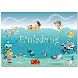 12 Einladungskarten im Set Zum Geburtstag / Kindergeburtstag mit Motiv Ozean, Unterwasserwelt, Schwimmbad, Freibad, Poolparty. Einladungen für Jungen und Mädchen (12 Einladungen)