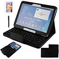 Contever® Funda de PU Cuero con Desmontable Teclado QWERTY Bluetooth Para Samsung Galaxy Tab 4 10.1'' T530 Tableta Protección Cover / Case / Carcasa con Soporte función -- Negro