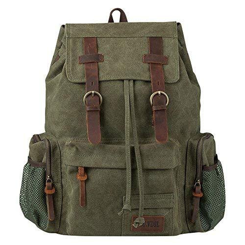 P.KU.VDSL Lederrucksack Herren, Army Rucksack, Canvas Vintage Augur für Herren Damen Jungen Mädchen (N-Army Green - Large Size) -