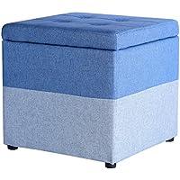 Preisvergleich für Yuan Polsterhocker Tuch-Kunst-Mehrfarbenspeicher-Schemel-Schuh-Bank-Foyer-Schlafzimmer-Frisierkommode-Einkaufszentrum-Schuh-Speicher-Schemel, 40 * 40 * 40cm /Hocker (Farbe : Blau)