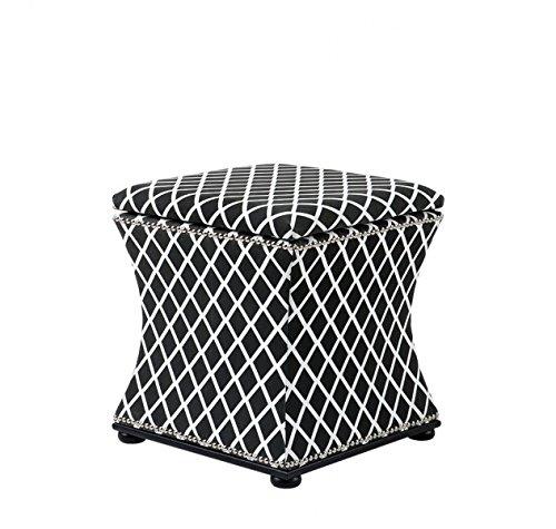Casa Padrino luxury seat stool black & white 47 x 47 x H. 52 cm - Luxury Quality