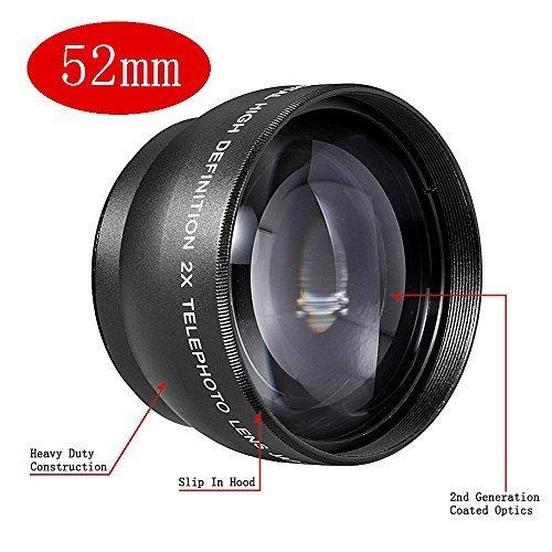 Neewer 52mm 2x Professionnel Grande Vitesse Téléobjectif pour Nikon 18-55mm f/3.5-5.6G ED II AF-S DX et d'Autres Appareils Photo Reflex & Caméscopes avec 52mm Filetag