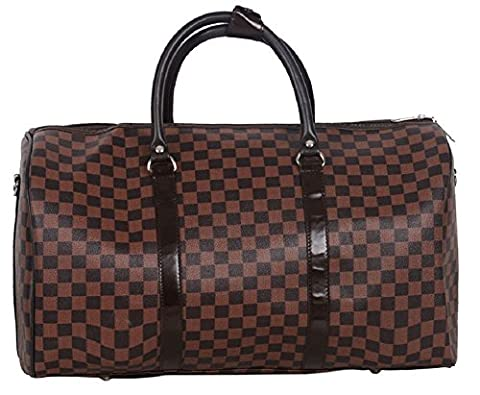Gossip Girl - Designer Inspired Tote / Holdall / Luggage / Weekend / Gym Bag (36L - Check Brown)