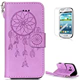 Samsung Galaxy S3 Mini i8190 Leather Wallet Case [with Free Screen Protector],KaseHom Dreamcatcher Feather Pattern Design Embossed Book Style Folio Flip Magnetic Closure Stand Function with Card Slots and Detachable Wrist Strap Synthetic PU Leather Protective Case Cover Skin Shell for Samsung Galaxy S3 Mini i8190 - Purple #1
