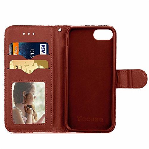 iPhone Case Cover IPhone 7 motif de tissage PU TPU Housse en cuir Housse Avec Photo Window Main Strap Carte Cash Slots Case Stand pour Apple iPhone7 ( Color : Rose Red , Size : IPhone 7 ) Brown