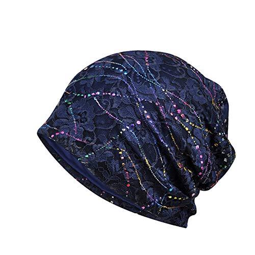 Amorar Mode Lace Breathable Baotou Cap, Frauen Weichen Turban Kopf wickelt Elastischen Schlaf Cap Slouchy Hat für Chemotherapie Patienten,EINWEG Verpackung