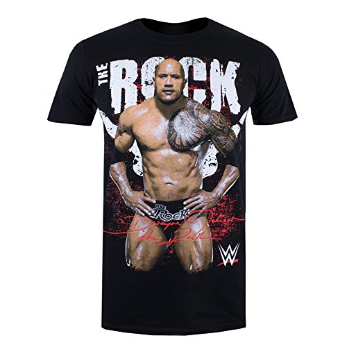 WWE Herren T-Shirt The Rock Pose Schwarz