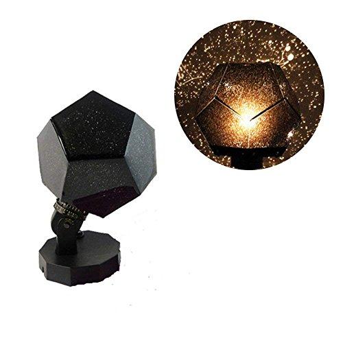 Science Museum Stars Lampen-Projektor - 12 Gesichter 360 Grad romantisches Astro Planetarium Sterne Himmelsprojektor Geschenk für Kinderzimmer Free Size Schwarz