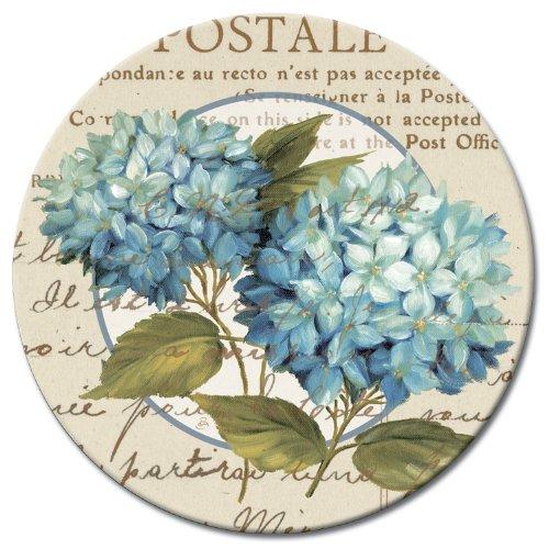 CounterArt Susan Lazy Susan Serving Plate, Blue Hydrangeas