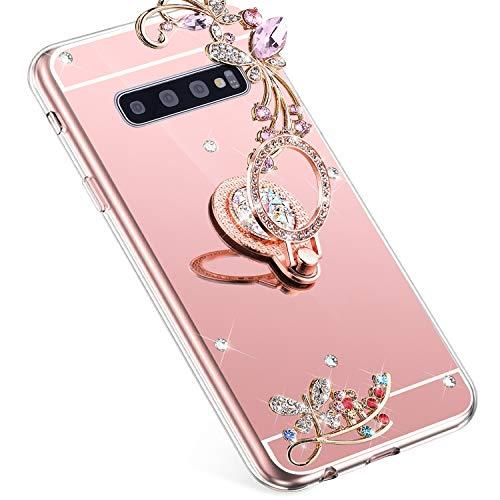 Uposao Kompatibel mit Samsung Galaxy S10 Handyhülle Strass Diamant Bling Glitzer Spiegel Schutzhülle Mirror Case Schmetterling Blumen Silikon Hülle Tasche mit Ring Halter Ständer,Rose Gold