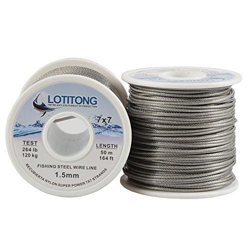 lotitong 50Meter Angeln Stahl Draht Line 264lb Angeln Draht Nylon beschichtet 7x 749Edelstahl Leader Draht Fisch Jigs Line 1,5mm (Steel Leader Wire)