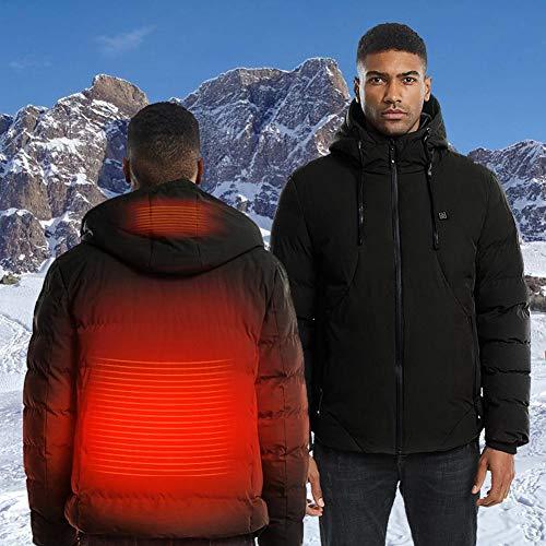 wisedwell Herren Beheizte Jacke Winter USB Aufladung Warme Beheizte Jacken Softshell, Waschbar Einstellbar zum Outdoor Camping Wandern Golf