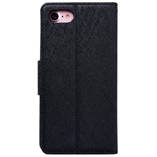 WE LOVE CASE iPhone X Hülle Wallet Im Retro Style Muster iPhone X / 10 Lederhülle Gold Handyhülle Flip Case Hülle Leder Klappbar Tasche Elegant Backcover PU Intern TPU Silikon Weiche Handycover Stoßfe black