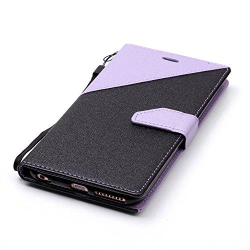 Per iPhone 6S/6 Plus Custodia in Pelle Morbida,SKYXD Flip Cover Borsa Portafoglio Wallet Libro Fronte Retro Full Body Protezione Completa 360 Gradi Coperture Protettiva di Elegante Colorata Similpelle Nero Lavanda
