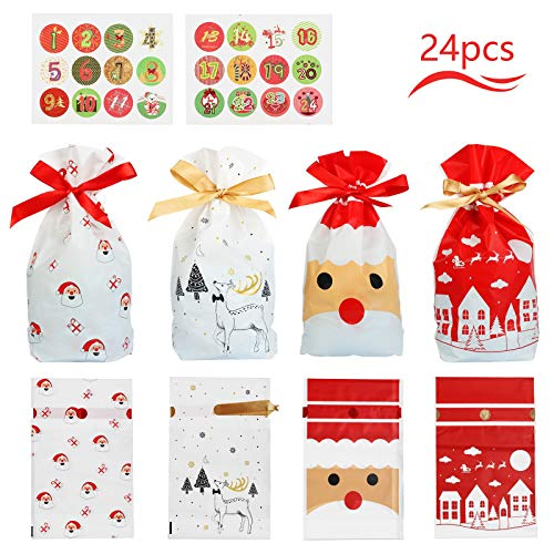 Matogle 24pcs Bolsas Regalo Navidad Calendario Bolsitas