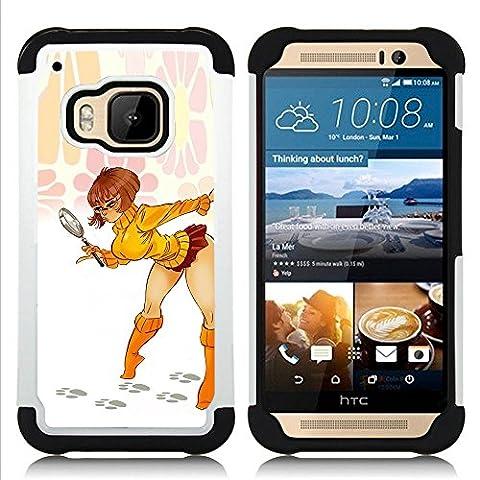 HTC One M9 /M9s / One Hima - 3 en 1 coloré lourd Imprimé Duty polycarbonate (PC) et Soft Black Gel de couverture Silicone Case (Sexy Short Skirt Babe Legs Woman Lady)