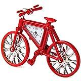 Modern Standuhr Fahrrad Design Uhr Rechteckige Edelstahl-Körper-Zifferblatt gutes Geschenke für Kinder und Junge auch Kinderzimmer Arbeitszimmer Dekaration Rot
