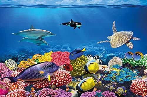 Fototapete Aquarium Wandbild Dekoration farbenfrohe Unterwasserwelt Meeresbewohner Ozean Fische Delphin Korallen-Riff Clownfisch - Foto-Tapete Wandtapete Fotoposter Wanddeko by GREAT ART (210x140 cm)