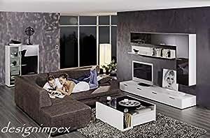Table basse design blanc avec 2 tiroirs bois teinté parsolglas a-444SL noir produit neuf