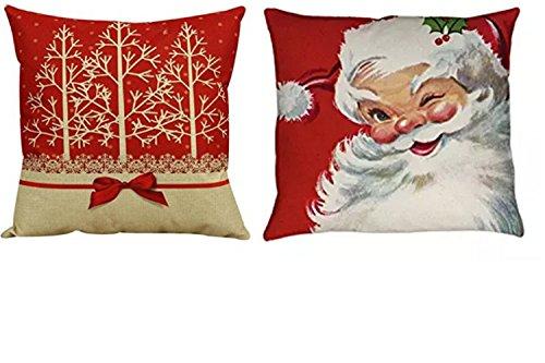 Santa 2 Stück Set (Vintage Weihnachten Set 2Stück rot Santa Kissenbezug Sofa Bett Home Decor 43,2x 43,2cm Zoll)