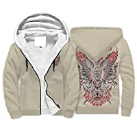Born for-Anime Unisex Full Zip Soft Fleece Hoodies Boys Mustodon Wings Skull Patterned Fashion - Awful Long Sleeve Sports Blouse white l