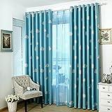 Hoomall Décoration de Fenêtres Rideau à Oeillets Occultant Rideau Enfant Dessin Nuages Couleur Bleu Polyester 140x245cm 1 PC