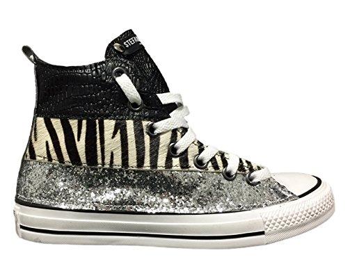 Converse All Star con applicazione di tessuto glitter argento, cavallino ed effetto coccodrillo nero Argento