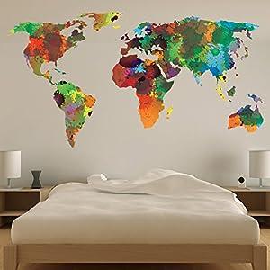 azutura Mapa del Mundo Vinilos Color del Agua Adhesivos Pegatina Pared Art Sala de Estar Decoración Disponible en 8 Tamaños Grande Digital