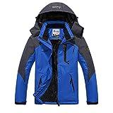 Minetom Herren Softshelljacke Wasserdicht Outdoor Atmungsaktiv Funktionsjacke Sport Winterjacke Wanderjacke Skijacke Doppeljacke Mantel Blau EU S