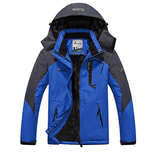 Minetom Herren Softshelljacke mit Kapuze Wasserdicht Atmungsaktiv Funktionsjacke Outdoor Jacke Winter Skijacke Männer Blau EU XL (Klettern Kapuzen-parka)