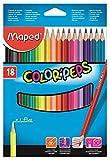 Maped Color'Peps 183218 Lot de 18 Crayons de couleur en pochette carton...