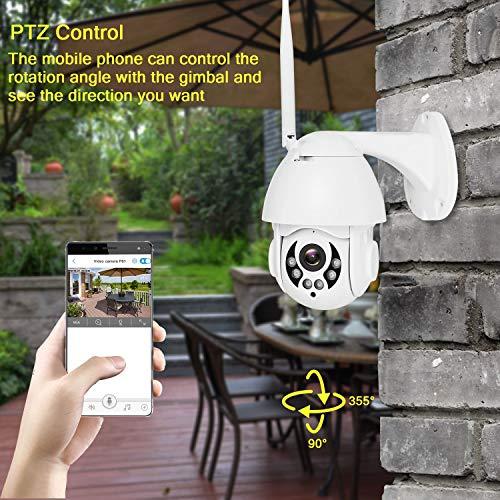 CTVISON PTZ 2.4G WiFi Überwachungskamera, drahtlose HD 1080P Schwenk- / Neige-Überwachungs-CCTV-IP-Kamera mit 4-MM-Objektiv/Zweiwege-Audio/Nachtsicht/Bewegungserkennung / IP65 wetterfest