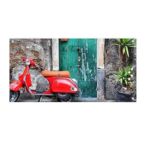 banjado Wandgarderobe aus Echtglas | Design Garderobe 80x40x6cm groß | Paneel mit 5 Haken | Flurgarderobe für Jacken und Mäntel | Garderobenleiste mit Motiv Italienischer Roller