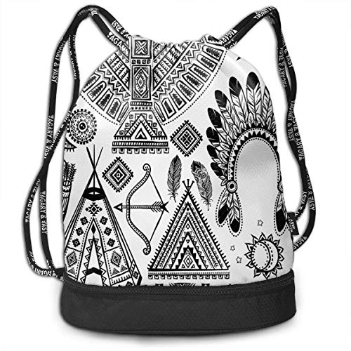 Cupsbags American Feather Head Band Ethnic School Drawstring Bag Backpack Bundle Backpack
