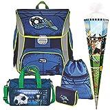 Soccer Blue - Fußball Football - BAGGYMAX SIMY Leicht-Schulranzen-Set 5tlg. Hama mit SCHULSPORTTASCHE und SCHULTÜTE