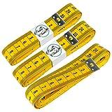 Faden & Nadel 3 x Schneidermaßband, Maßband, Bandmaß in gelb, Länge: jeweils 300 cm lang