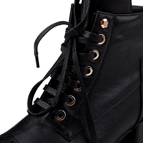 Altas Meados Zipper Baixo Botas Senhoras Salto Do Voguezone009 Dedo Quadrado Pretas Pé cvRRYw5q