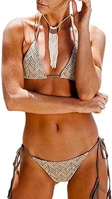 Borlas de encaje Vintage triángulo 2 piezas Halter femenino trajes de baño Bikini