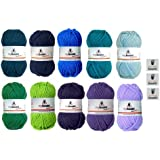 Assorted mix of myboshi Ice Age Wools 10 x 50 g (petrol 154, marine 155, ocean blue 153, turquoise 152, sky blue 151, grass green 122, lime green 121, plum 165, violet 163, candy purple 161) + 3 Labels