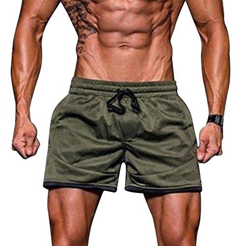 OSYARD Männer Sport Fitness Jogging Elastische Stretchy Bodybuilding MuscleBermuda Breites Bein Jogginghose(2XL, Grün)