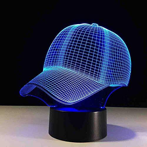 BJDKF 3D Hut Baseball Cap Led Lampe 7 Farben Ändern Tischlampe Baby Schlaf Nachtlicht Kind Weihnachtsgeschenke Sport Junge Schlafzimmer Dekor Licht