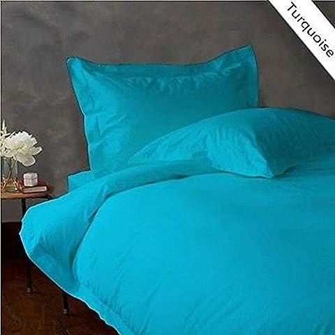 Super Soft 350Fadenzahl 100% Baumwolle 5-teiliges Bettbezug-Set mit Spannbettlaken Spannbetttuch, Euro, Super King Size, türkis blau/Blaugrün massiv