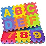 Techblaze Mini Size Play Puzzle MAT for Kids, 36 pcs Alphanumeric Non-Toxic EVA MAT, Interlocking Puzzle Mat with ABCD and 0-9 Numbers SetToy Mat for Kids(4 inch x 4 inch/ Tiles) – 36 Tiles Colorful