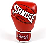 Sandee CoolTec Leather Adult Boxing Gloves (Red, 10oz)