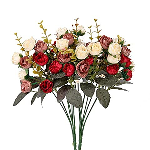 Houda Artificial Silk Fake Flowers Leaf Rose Wedding Floral Decor Bouquet,Pack of 2 (Red Coffee)