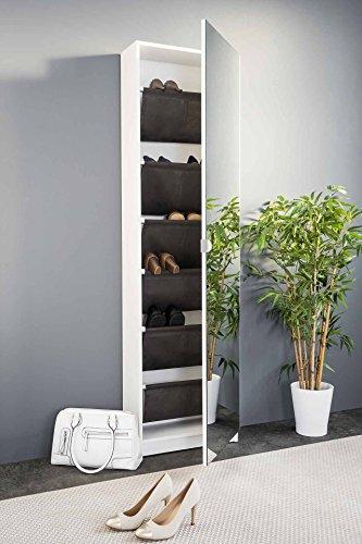 lifestyle4living Schuhschrank in modernem weiß mit praktischer Spiegeltür und viel Stauraum für...