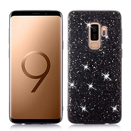 HUDDU Samsung Galaxy S9 Plus Hülle Glitzer Samsung S9 Plus Handyhülle Bling Glitter Case Hart PC Bumper Hard Back Cover Abdeckung Sparkles Luxus Schutzhülle für Samsung Galaxy S9 Plus Schwarz Bling Hard Case Cover